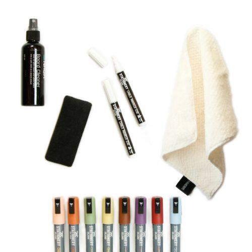 Magneetbord schrijven en schoonmaken- markers (set)