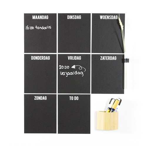 Weekplanner magneet MAGNETISCH zwart (8)