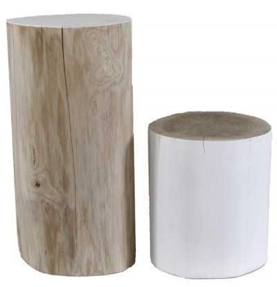 boomstam bijzettafel wit hout