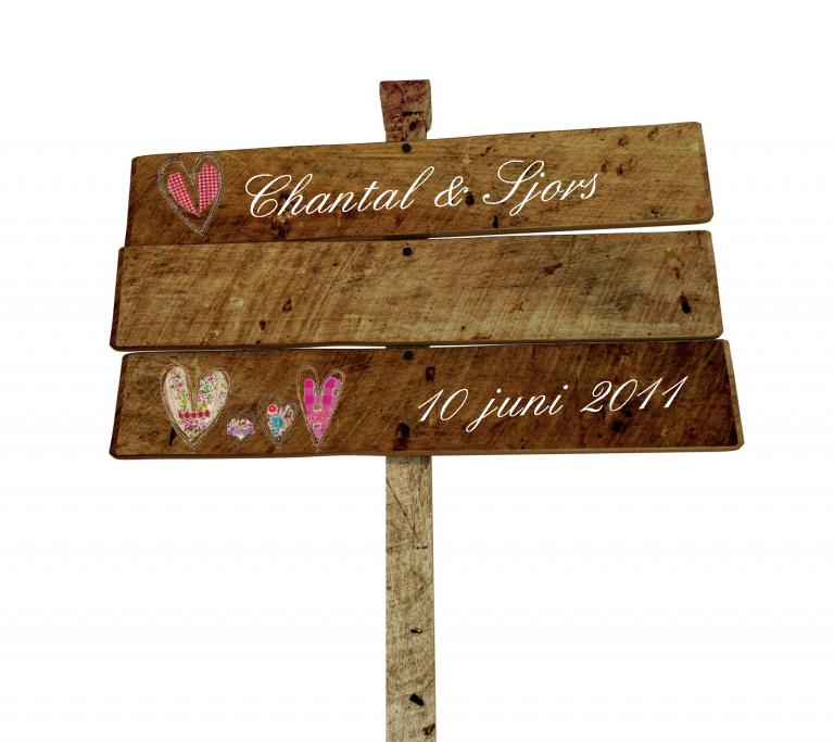 huwelijks decoraties bordje
