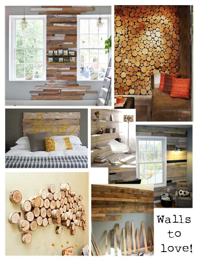 collage wand boomstam hout
