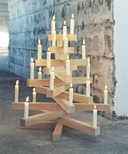 kerstboom hout kaarsjes