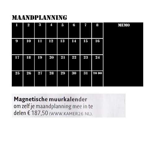 magneetbord muurkalender